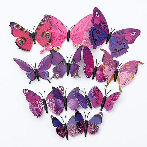 "12pcsx 1Farbe Art Aufkleber Mädchen Home Raum Wand Aufkleber 3D Deko Schmetterling Decors""Lila Farbe"" Set14"