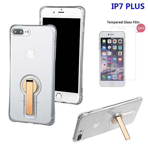 """xhorizon FL1 Elegant Transparent TPU Soft 360-degree Rotating Kickstand Case Coque Cover for Coque iPhone 7 Plus [5.5""""] with a 9H Tempered Glass Film (Rose-gold) d'or +9H Glass Tempered Film"""
