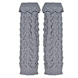 Voberry Women's Crochet Boot Cuffs Toppers Hollow Leg Warmers Socks For Boots One Size Gray