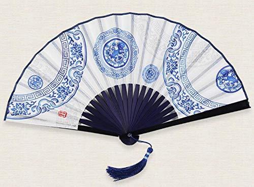 Kreative Affe Kostüm - XIAOHAIZI Handklappventilator Kreative Chinesische Klassische Faltfächer Blaue Muster Affen Herren Geschenk Faltfächer Hauptdekorationen