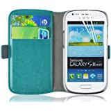 Samsung Galaxy S3 Mini, JAMMYLIZARD Luxuriöse Ledertasche Flip Cover, TÜRKIS