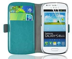 JAMMYLIZARD | Luxuriös Wallet Ledertasche Hülle für Samsung Galaxy S3 Mini, TÜRKIS