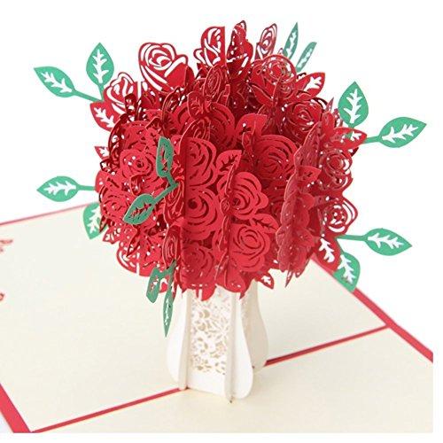 (Yolandabecool Grußkarten Big Rose 3D Pop up Grußkarten Fantastische Blumen Handgefertigt Geschenk Karte für Valentinstag Geburtstag Jahrestag Einladung Hochzeit Love Gifts (Rot Rose))