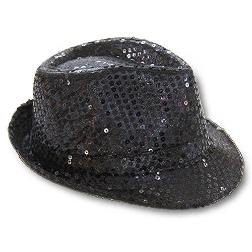 Hut Hat Black Schwarz Trilby Tribly Pailletten Jackson Schlagerparty DJ (Hüte Disco)