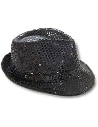 Hut mit Pailetten Glitzerhut Trilbyhut Partyhut schwarz
