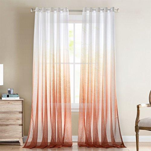 Gwell, tende con gradazione di colore, trasparenti, in voile, con occhielli, tenda decorativa, per soggiorno, camera da letto, confezione singola