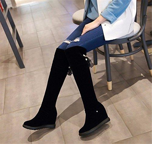 L'automne et l'hiver ont augmenté dans les bottes à talon haut bottes bottes ruban du genou black