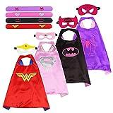 BUZIFU Superman Kostüm Bunt Superhelden Kostüm Kinder 4 Capes mit 4 Masken und 4 Flap Band für Mädchen Geburtstag Party CosplayKarneval