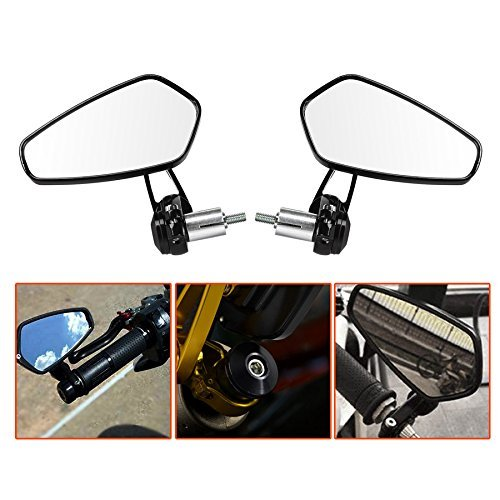 LTC  2 piezas universal 7/8 motocicleta Espejo retrovisor brazo giratorio 360 ° & ángulo ajustable espejo retrovisor manillar espejo aluminio negro