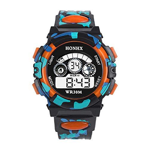 Bainuojia Jungen Digitaluhren, Kinder Sport 5 ATM Wasserdicht Digital Uhren mit Alarm/Timer/EL Licht, Kinderuhren Outdoor Armbanduhr für Jugendliche Jungen (Orange)