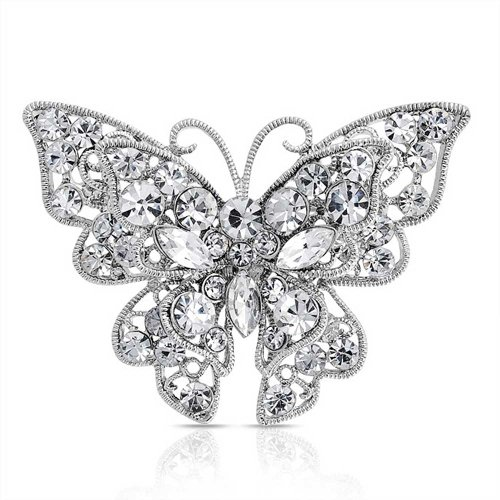 Bling Jewelry Clear Crystal Layered Schmetterling Brosche Pin Versilbert (Layered Tiere)
