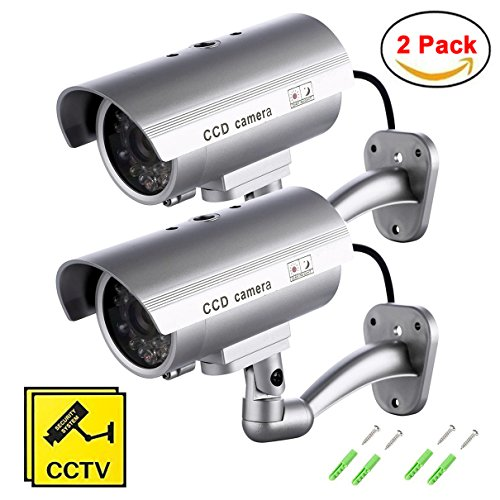 Maxesla Fausse Caméra de Vidéosurveillance, lot de 2 Caméra de surveillance d'intérieure extérieur factice avec LED rouge Caméra Dummy Fausse CCTV Camera