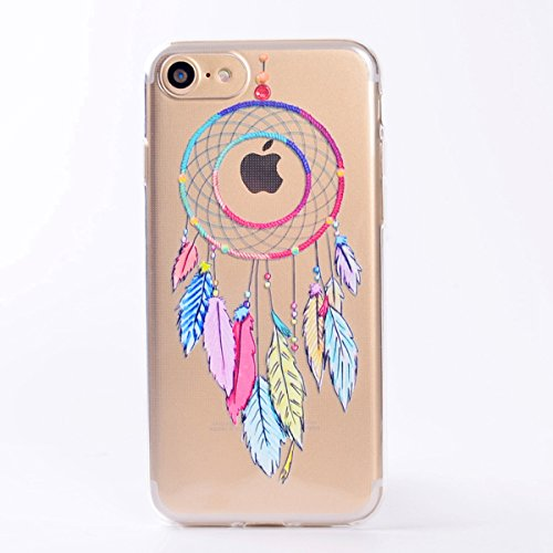 Custodia iPhone 7, iPhone 7 Cover Silicone, SainCat Custodia in Morbida TPU Protettiva Cover per iPhone 7,Creative Design Transparent Silicone Case Ultra Slim Sottile Morbida Transparent TPU Gel Cover Campanula