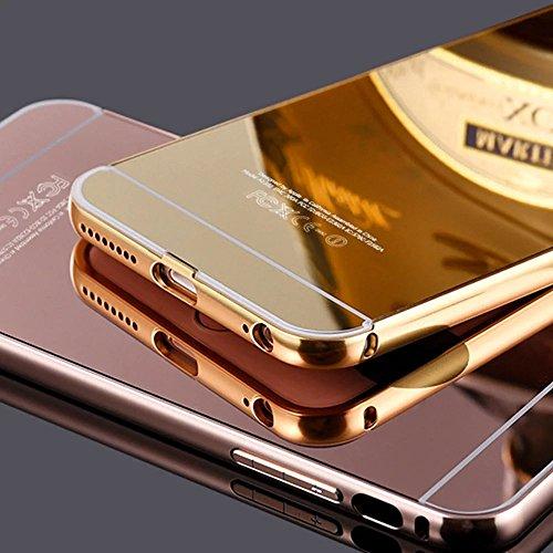 iPhone SE Hülle, iPhone 5S Hülle, MOMDAD Luxus Mirror Metall Zurück Case Cover für iPhone SE 5S 5 Schutzhülle Ultra Thin PC Hart Aluminium Abdeckung Telefonkasten Spiegel Transparent Strass Kristall C Gold