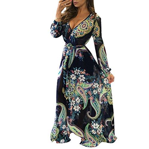 BOMOVO Damen 50er Jahr hochzeit Vintage kleid lang V-Ausschnitt Maxikleider Printkleider Partykleider Blau