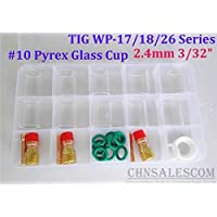 CHNsalescom 28 pcs TIG Welding Stubby Gas Lens #10 Pyrex Cup Kit WP-17/18/26 Torch 3/32