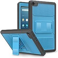 MoKo Amazon Fire 2016 HD 8 Funda - Shockproof Híbrido Resistente Smart Cover Case para Choque con Protector de la Pantalla Incorporado - Azul & Gris Oscuro