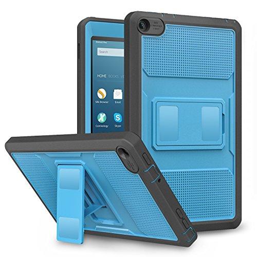 MoKo Hülle für Fire HD 2016 8 Zoll - [Heavy Duty] Ganzkörper-Rugged Hybrid Stand Cover Schutzhülle mit integriertem Displayschutz für Fire HD Tablet (Vorherige 6. Generation - 2016), Blau & Dunkel Grau (Stand Case Für Kindle Fire)