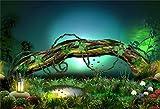 YongFoto 1,5x1m Polyester Foto Hintergrund Traumhaftes Märchen Alte Baumstamm Blumen Garten Fotografie Hintergrund für Fotoshooting Portraitfotos Party Kinder Hochzeit Fotostudio Requisiten