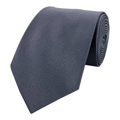 Edle Fabio Farini Krawatte, 8 cm in verschiedenen Farben, Graphitgrau unifarben