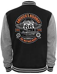 Ethno Designs - Americas Highway - Hot Rod Veste College Old School Rockabilly Retro Style pour Femmes et Hommes, navy / sports grey, taille S