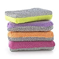 Lakeland Dual Action Microfibre Cleaning Sponge & Scourer Pads - Pack of 4