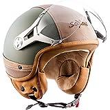 SOXON SP-325-URBAN Green · Retro Mofa Vespa Vintage Moto Cruiser Scooter Helmet Chopper Bobber Pilot Casque Jet Demi-Jet Biker · ✔ ECE certifiés ✔ conception en cuir ✔ y compris le pare-soleil ✔ y compris le sac de casque ✔ Vert · XL (61-62cm)