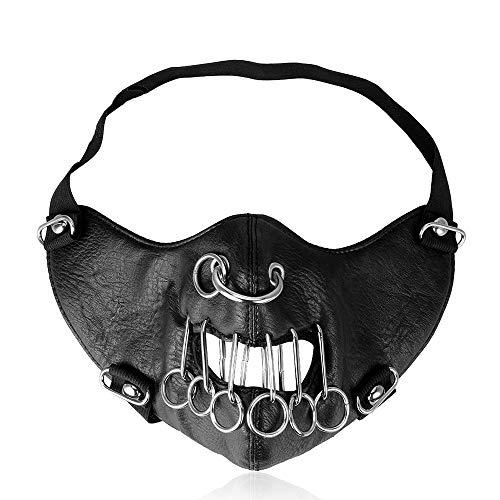 Lcdy maschera locomotiva a rivetti punk maschera decorativa per uomini e donne maschera personalizzata in pelle calda,black,24 * 15cm