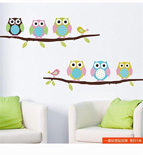 zooarts colorido búhos sobre ramas pájaro extraíble pegatinas de pared Arte decoración adhesivos de vinilo Home habitación Mural