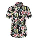Bluester Mens Hawaiian-Print Shirt, Summer Short Sleeves Aloha Floral Beach Holiday Top Outfit