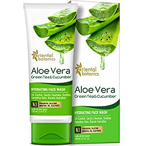 Oriental Botanics Aloe Vera, Green Tea & Cucumber Hydrating Face Wash - No Sulphate, Paraben, Silicone, 100ml