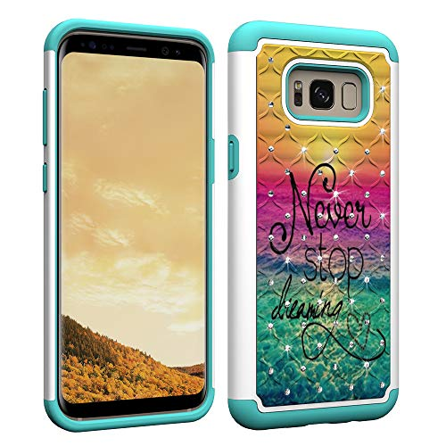 Stoßfest Hybrid Hülle für Samsung Galaxy S8 Plus,Shinyzone Dual Layer Handyhülle mit Luxus Bling Handarbeit Strass Diamant Muster Schwerlast Schutzhülle für Samsung Galaxy S8 Plus,Hör niemals auf zu träumen