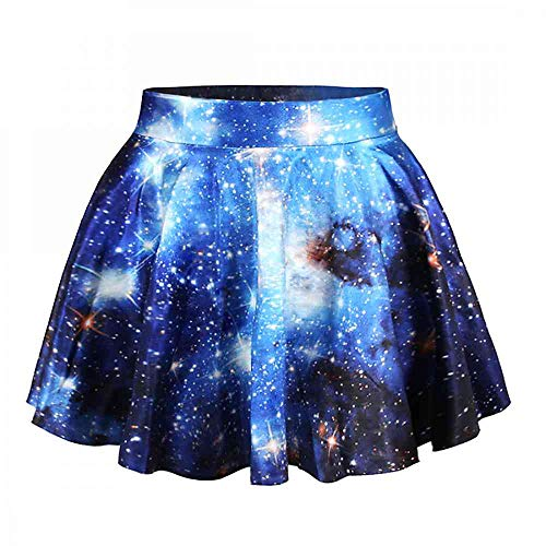 Fashion Damen Sommerkleid Retro Digital Print Vintage Kleid Minikleid Minidress Minirock Rock Skirt (Blaue Galaxie)