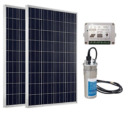 ECO-WORTHY 180W Monokristallin Solarpanel + DC 24V Solar Tauchpumpe Systeme: 2 pcs 12V 90 W Mono Solarmodul +Elektrische Wasser Brunnenpumpe pumpe für Bauernhof Weide