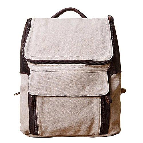 Paonies Herren Damen Canvas Tasche Rucksack Schulrucksack Schultertasche für Outdoor Sports Uni Reise (Armeegrün) Beige
