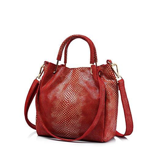 Le donne sacchetto di cuoio genuino Totes benna borsa femminile spalla Rosso