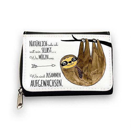 ilka parey wandtattoo-welt Geldbörse Brieftasche Portemonnaie Faultier auf Baum mit Spruch natürlich rede ich mit mir selbst.. gk084