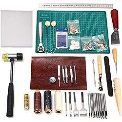 Herramientas de costura de cuero 44pcs Cuero Craft Herramientas Kit para coser a mano costura, juego de estampado y fabricación de sillín 44psc basic tools kit