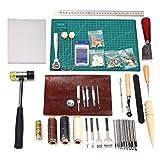 Kit d'outils de couture Cuir de 44pièces Outils d'artisanat du cuir pour la création de couture à coudre à la main, stamping et selle 44psc basic tools kit