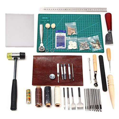 Kit d'outils de couture Cuir de 44pièces Outils d'artisanat du cuir pour la création de couture à coudre à la main, stamping et sell