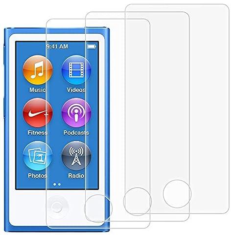 Protecteurs D'écran pour iPod Nano 7ème 8ème Génération, AFUNTA Lot de 3 Films de Protection en Verre Trempé, Couverture Pleine Anti-rayures Sans Bulle pour Apple iPod Nano 7
