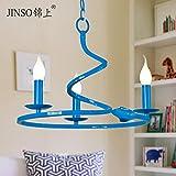 Se ilumina en azul colgante continental simple candelabros de hierro idílica habitación Restaurante Creative Arts 4009-3b,40*27cm lámpara