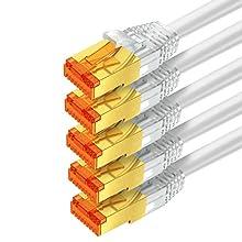 mumbi 26617 Cat.7 S/FTP Câble brut réseau de raccordement LAN Ethernet Patch avec connecteurs RJ-45 0.50m, blanc (5x)
