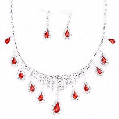 6c3c00487873 Rizilia LÁGRIMA Conjunto de joyas Collar   Pendientes largos Corte de Pera  Piedras Preciosas Circonita CZ