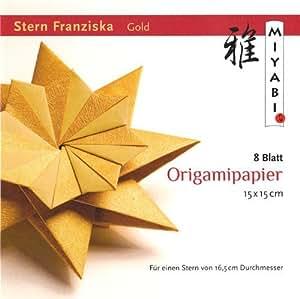 Origami Stern Franziska mit Anleitung(deutsch), Gold