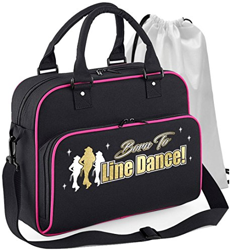 MusicaliTee Line Dancing - Born to Dance - SCHWARZ + ROSA Pink - Tanztasche & Schuh Tasche Dance Shoe Bags
