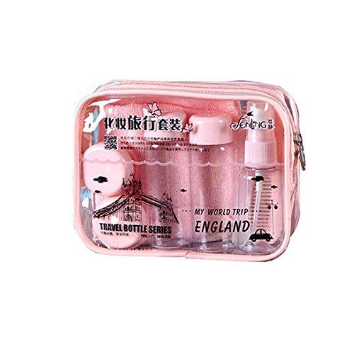 Pixnor 4 bouteilles vides en plastique récipient avec sac transport Mix Stick Peigne Miroir compte-gouttes (Rose) rose