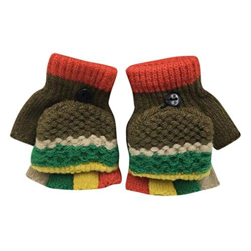 GiGiSun Kleinkind Baby niedlich verdicken Patchwork heißen Mädchen Jungen Winter warme Handschuhe (Khaki) (Khaki Schokolade)