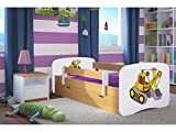Kocot Kids Kinderbett Jugendbett 70x140 80x160 80x180 Buche mit Rausfallschutz Matratze Schublade und Lattenrost Kinderbetten für Mädchen und Junge Bagger 140 cm
