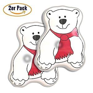 WARMHERZ Premium Handwärmer [2er Set] Eisbär – Verbessertes Konzept 2019 – Langanhaltende Wärme für kalte Hände | Taschenwärmer für unterwegs | wiederverwendbar